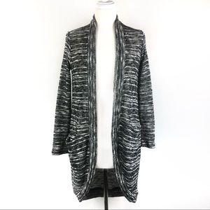 Splendid Open Front Long Cardigan Black White XS